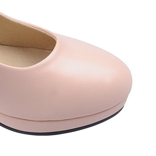 AgooLar Damen Hoher Absatz Rein Schnalle Rund Zehe Pumps Schuhe Pink