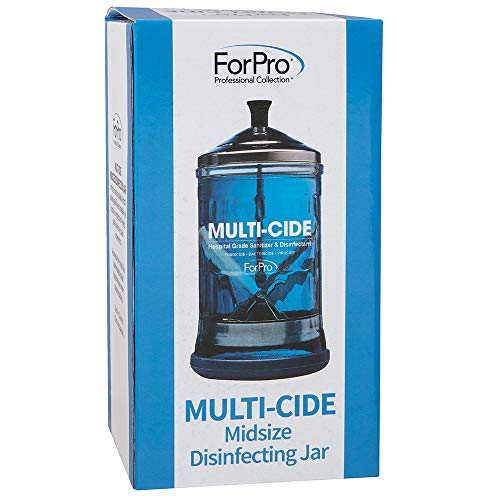 """ForPro Multi-Cide Midsize Disinfecting Jar, for Manicure & Spa Implements, 21 oz, 8"""" H x 4.25"""" W"""