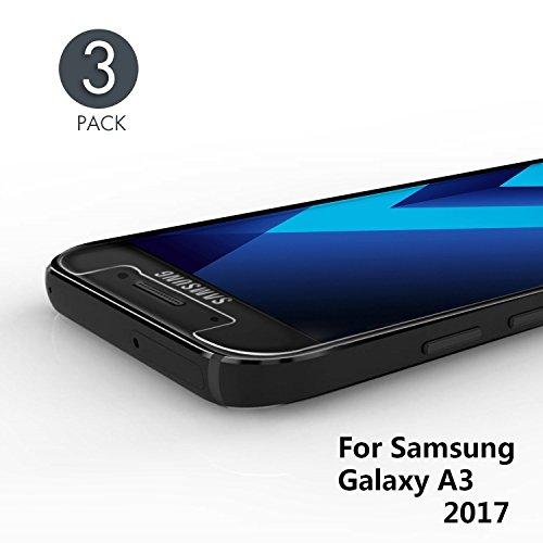 Aribest Panzerglas Schutzfolie Für Samsung Galaxy A3 2017, 3 Stück Ultra-klar 9H Härte Panzerglasfolie für Samsung Galaxy A3 2017 - HD Klar, Anti-Öl, Anti-Kratzen, Anti-Bläschen, 3D Touch Kompatibel