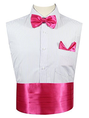 JAIFEI Men's Cummerbund Set-Satin Bow Tie+Handkerchief+Cummerbund For Wedding (Hot Pink) (Cummerbund Sets)