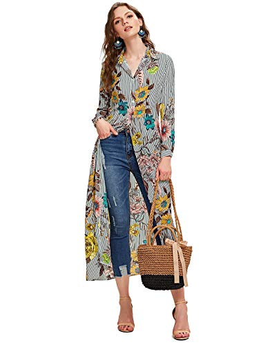 SheIn Women's Long Sleeve Button Up Stripe Floral Longline Blouse Shirt Cardigan Medium Multicolor