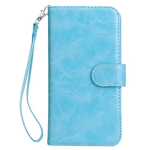(Galaxy S10 Case, Bear Village Premium PU Leather Stand Wallet Case 9 Card Slots Cover with Magnetic Clasp and Wrist Strap for Samsung Galaxy S10 (#4 Blue))