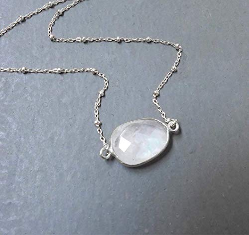 Sterling Silver Rainbow Moonstone Necklace with 16 inch Satellite Chain
