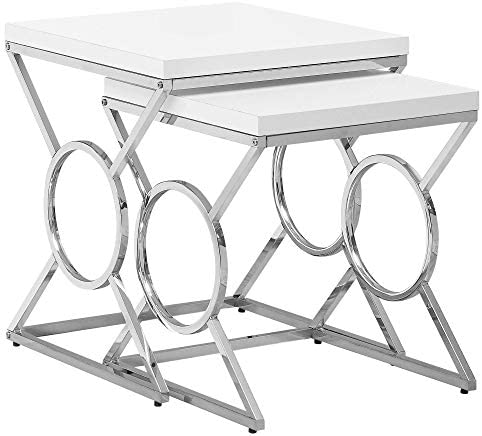 Monarch Specialties I NESTING TABLE, WHITE