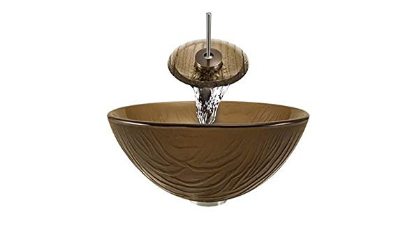 Ring and Waterfall Faucet Sink Brushed Nickel MR Direct Aurora Sinks A17-BN-G Bathroom Ensemble with Grid Drain Glass Vessel