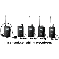 ANLEON Wireless Headset Microphone System for Tour Guide Teaching simultaneous translation interpretation (1 transmitter + 4 receivers)