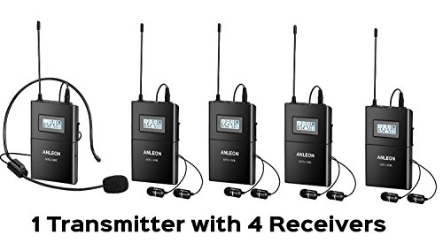 ANLEON Wireless Headset Microphone System for Tour Guide Teaching simultaneous translation interpretation (1 transmitter + 4 receivers) by ANLEON