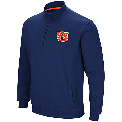 Colosseum NCAA Men's Tailgater Cotton-Poly Fleece 1/4 Zip Pullover-Auburn Tigers-Navy-XL ()