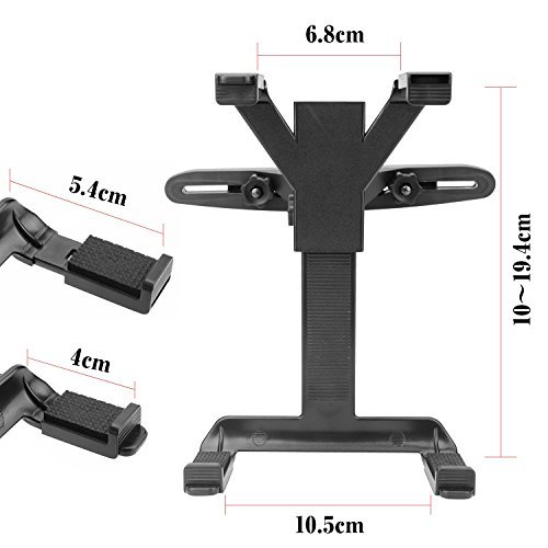 Support Tablette Voiture, 360 Degrés Rotation Support Universal Porte Tablette Appuie-tête de Voiture, Compatible Tablettes 7-12 Pouces