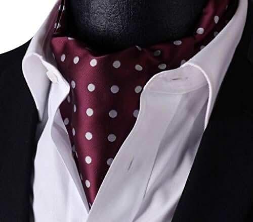 Allbebe Men's Burgund Polka Dot Silk Cravat Ties Jacquard Woven Casual Ascot