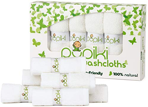 Premium Pupiki Baby Washcloths: 6 Ultra-Soft 100% Rayon from Organic Bamboo Baby Washcloths + Wash Bag Hypoallergenic Reusable Extra-Absorbent 10X10 Newborn Towel Unisex Great Baby Shower Gift White