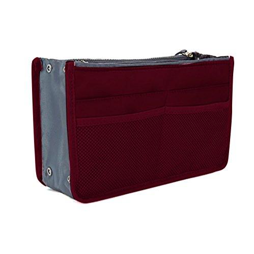 JET-BOND Multi-Pocket Handbag Organizer Liner Pouch Medium Size with Handles (Wine)