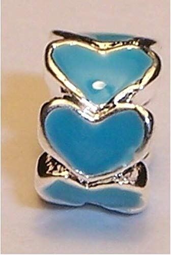 2PC Heart Ring Blue Enamel Silver Plated Spacer Charm for Euro Slide Bracelets Fashion Jewelry for Women Man