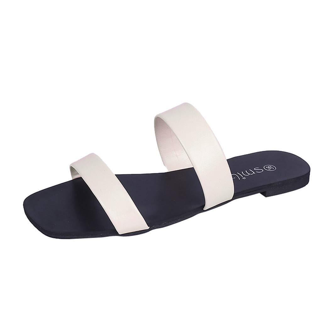 Elecently Sandale Femmes Chaussures Plates Printemps et Automne Chaussures Confortables Sandales Bout Rond Mode Chaussures Simples de Mocassins Occasionnels
