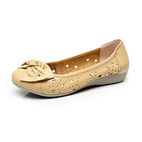 Bridfa Zapatos de cuero genuino de la primavera del otoño Pisos de la mujer Work Classi Bowknot de la manera Zapatos casuales femeninos del ballet de las señoras Apricot1