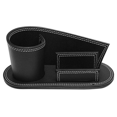 Modern Multipurpose Black Leatherette Desktop Organizer w/ Pencil Holder & Business Card Slot - MyGift Photo #2