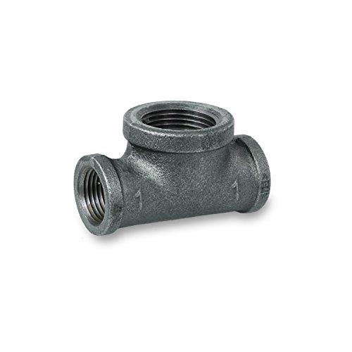 Everflow Supplies BMBT1002 Black Malleable Bull Head Tee Fitting with Female Threaded Connections, 1