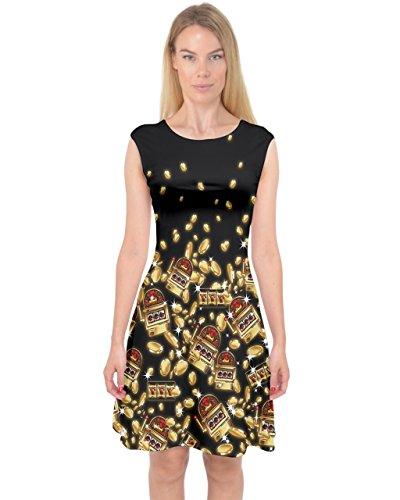 PattyCandy Womens Gold & Black Jackpot Slot Machine Capsleeve Midi Dress - XL