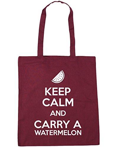 HippoWarehouse Keep calm and carry a sandía bolsa de la compra bolsa de playa 42cm x38cm, 10litros granate