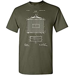 Bird Cage T-Shirt, Bird Keeper Gift, Retro Birdcage, Animal Lover, Aviculture, Zookeeper, Exotic Bird, Parrots, Macaws Military Green (Large)
