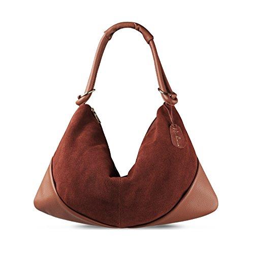 Nico Louise Suede Leather Hobo Bag Top Handle Women Dumpling Bag Large Handbag (Light Brown)