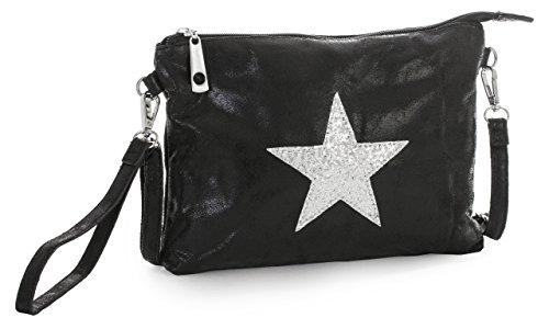 Big Handbag Shop Vegan Leather Fashion Designer Inspired Small Size Glitter Star Clutch Wristlet Shoulder Bag (Black)