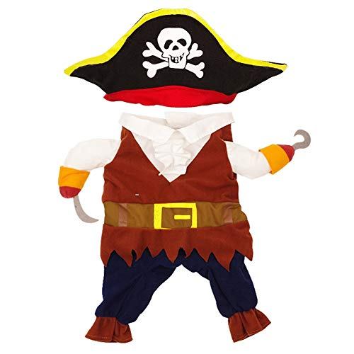 Dora Bridal Pet Costume Cool Caribbean Fashion Pirates Style Clothes Halloween Christmas Funny Cosplay Suit with a Hat Costume Apparel Party Dress for Dogs & Cats ()