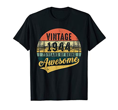 Retro Vintage 1944 TShirt 75th Birthday Gifts 75 Years Old