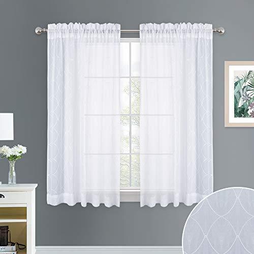 NICETOWN Diamond Embroidery Sheer Curtains - White Geometric Embroidered Crushed Voile Rod Pocket Window Drape Panels for Nursery, Dining Room, Basement, 52