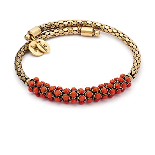Colorful Boho Layering Adjustable Red Coral Solid Wrap Bangle Bracelet, 14K Yellow Gold Plated