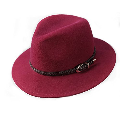 Verashome Wool Fedora Hat Women's Felt Panama Crushable Vintage Style With Leather Band (Jujube Red) Classic Red Felt Hat