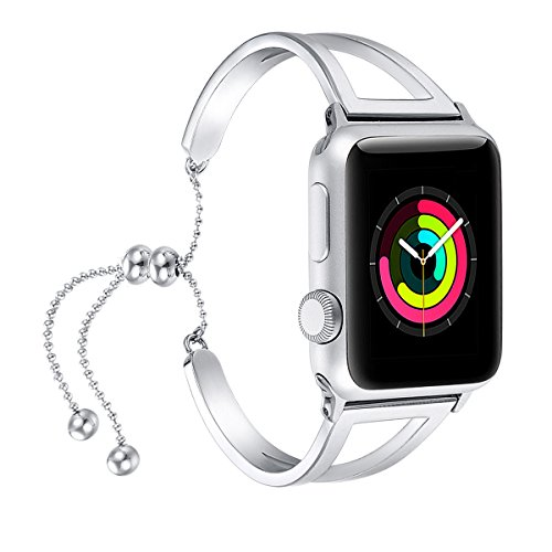 For Apple Watch Band 42mm, Fastgo 2018 Newest Released Girly Glitter Unique Dressy for Apple Watch Bracelet with Stainless Steel in Silver Color with Pendant and Tassel(Silver - 42mm) by fastgo