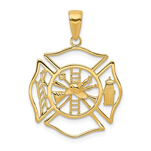 - 14k Yellow Gold Fireman Shield Pendant Charm Necklace Career Professional Firefighter Fine Jewelry For Women Gift Set