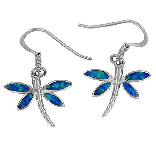 Silver Dragonfly Earring - Sterling Silver Synthetic Blue Opal Dragonfly Dangle Earrings