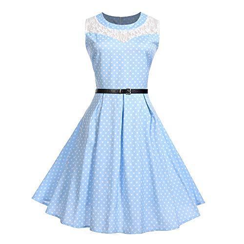 Ladies Dress Hot Sale! DEATU Women Vintage Elegance Sleeveless Printing O Neck Pleated Evening Party Prom Swing Dress(Blue,L)