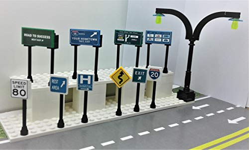 Highway Construction Signs - Building Bricks Toys Custom City HIGHWAY Signs. SET OF 11.