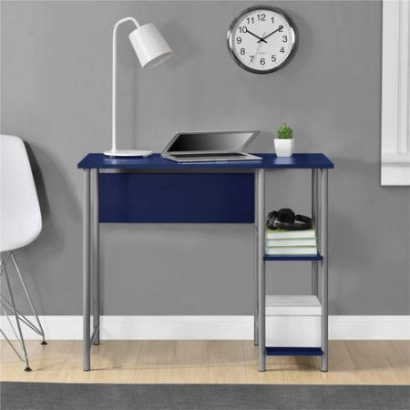 Mainstays Basic Student Desk Sturdy metal frame accented by shelving .Model: 9120596W / Color:Navy by Generic