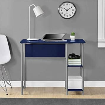 Mainstays Basic Student Desk Sturdy metal frame accented by shelving .Model 9120596W Color Navy