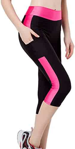 0173fc3935 Romastory Women's Stretch Sport Leggings Three Quarter Fitness Yoga Pants  Capris