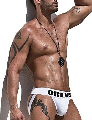Madealer Men's Jockstrap Thong Underwear Sexy Cotton Low Rise Breathable Performance Jock Strap White XXL