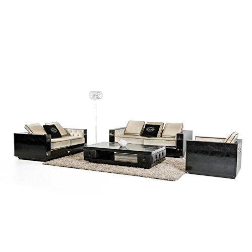 Bellagio Crystal (VIG- A&X Bellagio Transitional Black Crocodile and Beige Fabric Sofa Set)