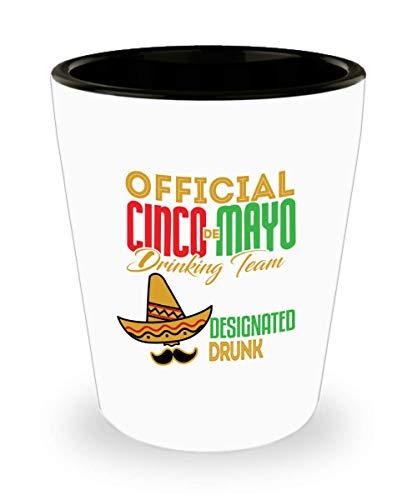 Funny Gift for Cinco De Mayo - Official Cinco De Mayo Drinking Team Tequila, Margarita Glass, Fiesta Decorations, Mexico Hombre Sombrero, Mexican, Cinco De Mayo Shot Glass Ceramic Novelty Gifts ()