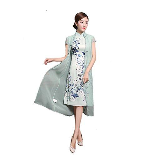 Qipao Two pieces suits Retro Cheongsam Improved Cheongsam Medium length cheongsam Slim dress Spring/Summer by YY-Chipao