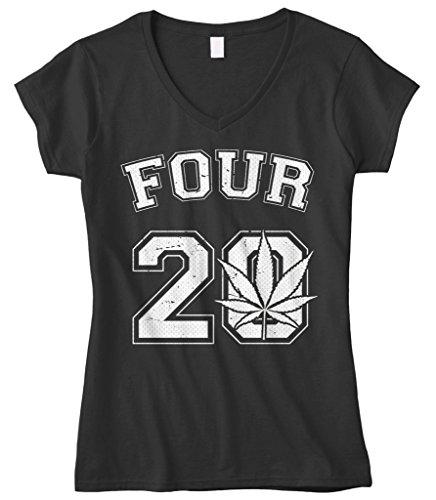 Cybertela Women's Four 20 Marijuana Weed 420 Fitted V-Neck T-Shirt (Black, Medium)