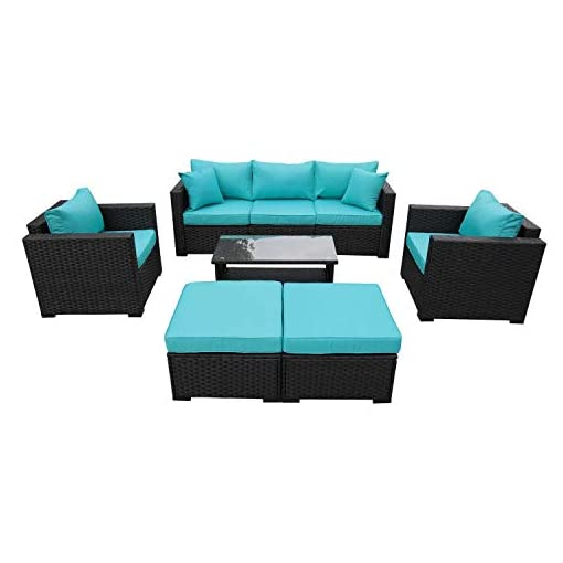 Garden and Outdoor Rattaner Patio Wicker Furniture Set 6 Pieces Outdoor PE Rattan Conversation Couch Sectional Chair Sofa Set with… patio furniture sets