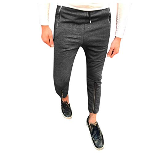 AHAYAKU Fashion Men's Slim Pure Color Casual Sports Woven Pocket Feet Pants Dark Gray