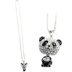 gu6uesa8n Necklaces for Women Fashion Lovely Rhinestone Panda Pendant Beaded Long Sweater Chain Necklace