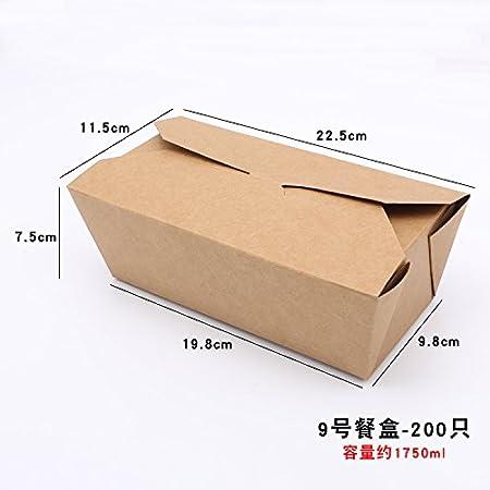 Descartables embalaje Kraft cajas de comida, cajas de almuerzo, merienda comida, rectangular de cartón con tapa,Nº 9 - 200 sólo: Amazon.es: Hogar