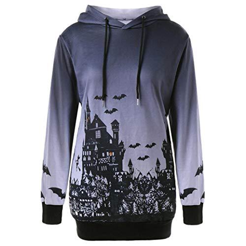 Gobling Women Hooded Halloween Moon Bat Print Drawstring Pocket Hoodie Sweatshirt Tops (Color : Gray, Size : L)