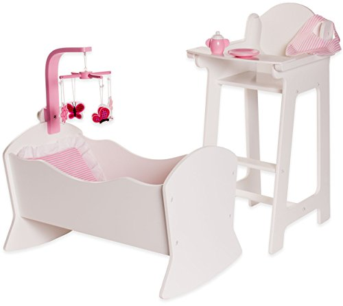 18 Inch Doll Furniture High Chair and Cradle Set w/Accessories - Playtime by Eimmie Collection